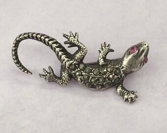 Silver Lizard Brooch Sterling Silver Lizard Brooch Ruby Pink Eyes Mascasites 925 Lapel Pin