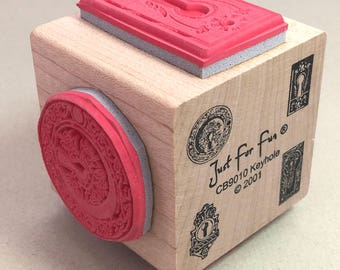 Keyhole Rubber Stamp Block Decorative Keyholes Craft Rubber Stamp Victorian Architectural Stamp Cube Just For You