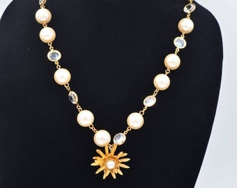handmade gold pendant necklace with pearl and crystal vintage parts