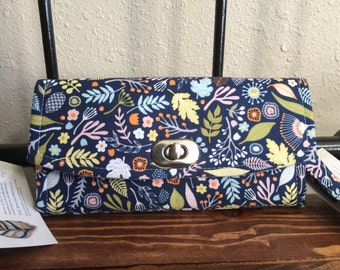 Navy Flowered Wallet, Flowered Navy Wallet, Flowers Wallet, NCW Flower wallet, Emmaline Flowered Wallet, Navy Floral Wallet - Ready to Ship