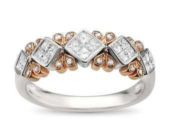 14k Two-Tone White & Rose Gold Princess-cut and Round Diamond Bridal Wedding Band Ring (1/2 cttw, I-J, I1-I2)