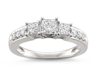 14k White Gold Princess-cut & Round Diamond Three-Stone Wedding Engagement Ring (7/8 cttw, H-I, I1-I2)