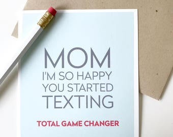 Happy Mothers Day Card. Mom texting card. Funny Mothers Day Card for mom. Mom texting.
