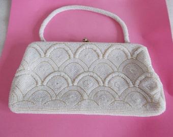 Vintage Small White Beaded Handbag With Glass Rhinestone Snaps