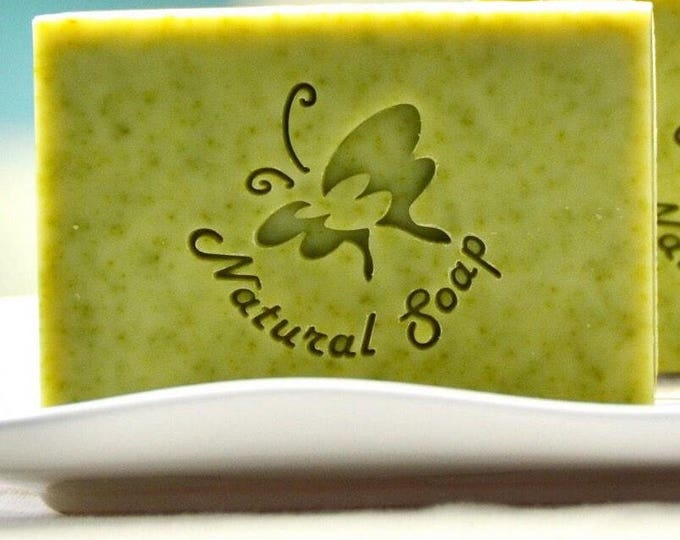 "Handmade Cookie Stamp Seal Soap Stamp - Butterfly with Text ""Natural Soap"""