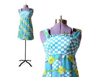 Turquoise dress 1960s dress Floral print dress 60s dress mini dress, vintage dress flower print womens dress 00 vintage clothing girls 12 14