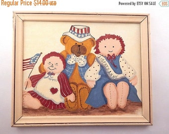 Raggedy Ann Style Dolls Patriotic Teddy Bear Picture Hand Painted Red White and Blue Americana Wall Hanging -Vintage Home Decor