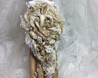 Ivory&Gold Flower Corsage-Prom Corsage-Fingertip to Wrist Corsage-Bracelet-Wedding Bridal Flowers-Brides-Bridal-Corsage for Prom-Flowers