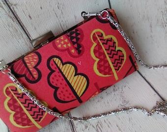 Autumn leaf clutch bag, clutch bag, minaudiere bag, clam shelled bag, brown and gold clutch bag, hard shelled clutch bag, handmade bag