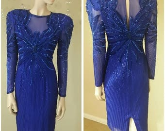 Beautiful Vintage sequins and beads Blue dress by Night Line Size 6