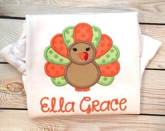 Girls thanksgiving turkey applique shirt or onesie, Girls thanksgiving shirt, girls turkey shirt, girls turkey name shirt, thanksgiving