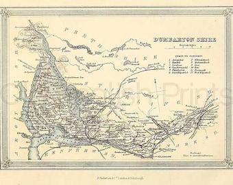 Dumbarton Shire c.1857 - Antique Scottish County Map of Dumbarton - 8 x 11 ins PRINT - FREE P&P UK