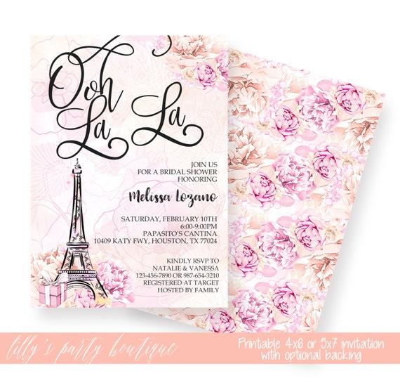 Paris bridal shower invitation eiffel tower bridal shower for Paris themed invitations bridal shower