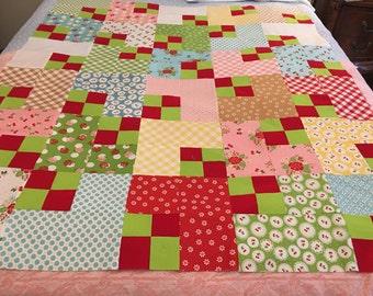 Sew Cherry2 Vintage Quilt Top 45x52