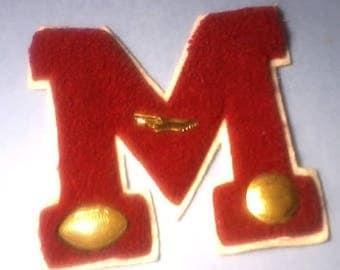 Vintage Varsity Red Letter M Football Track Basketball Sports Pins High School Letter College Letter