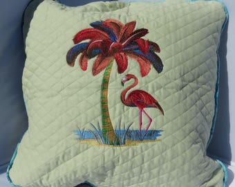 Flamingo and Palm Tree Accent Pillow