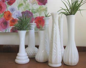 Milk Glass Vase Collection, Milk Glass Florist Vase, set of 7, Mismatched Vintage Milk Glass Vases