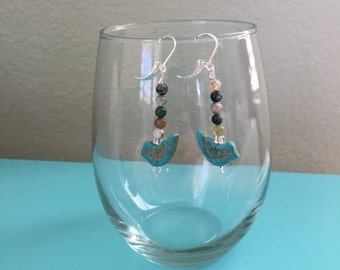 turquoise bird bead and round jasper bead earrings on sterling silver leverback ear wires