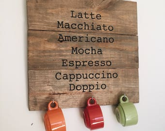 Coffee Sign, espresso bar sign, coffee cup hanger sign, wood pallet coffee sign, epresso cup hanging sign, rustic kitchen decor