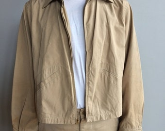 SALE 1950's Tan Workman's Coat Delivery Style Jacket with two front slash pockets