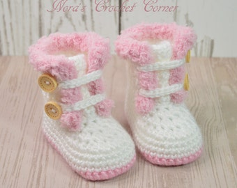 Baby Girl Crochet Fur Boots, White and Pink