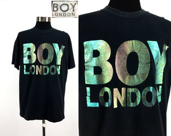 Vintage 80s BOY LONDON T-Shirt XL // Iridescent // 1980s // Throwback // Punk // Streetwear // Urban // Metallic // Holo // Beach Goth // og