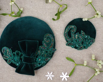 Headpiece Pillbox Fascinator deepgreen velvet green vintage 30ties 50ties vintage pin up style elegant accessoires minimalistic embrodery