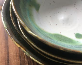 Gold rimmed green ice cream bowls
