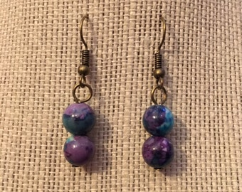 10mm Purple&LightBlue Marbled Bead Earrings
