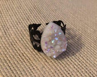 Shimmery White Teardrop Faux Druzy Filigree Adjustable Ring