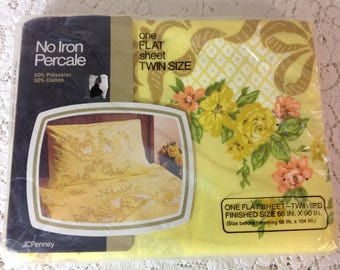 Vintage Floral Twin Flat Sheet  by JC Penny Yellow Flowered Sheet Yellow Twin Flat Sheet