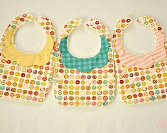 Donut Baby Bib, Handmade Collared Baby Bib, Baby Bibs, Donut Birthday Party Bib, Baby Shower Gift, Handmade Baby Girl Gift, Donut Party