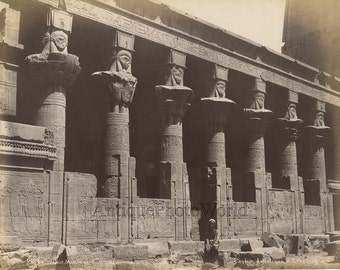 Philae Mammisi court antique albumen photo by Lekegian