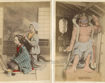 Japan woman with hairdresser and statue 2 antique hand tinted albumen photos
