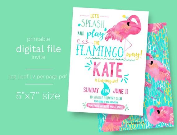 Flamingo Pool Party Birthday Invitation DIGITAL FILE Summer – Flamingo Birthday Invitations