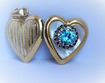 Vintage 10k gold filled sterling silver heart locket pendant