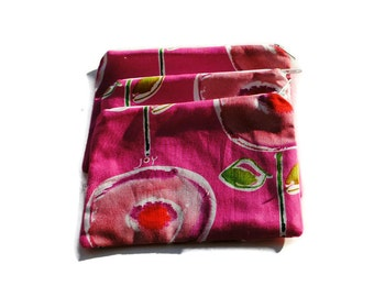 Reusable Snack Bags Set of 3 Zipper Bright Pink Poppies Joy