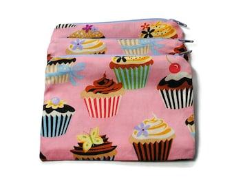 Reusable Snack Bags Set of 2 Zipper Pink Cupcakes