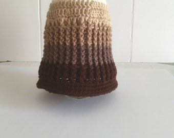 Messy Bun Hat, Ombre Crochet Cap, Gender Neutral Hat, Gifts for Her, Gifts for Him, RTS, Textured Knit Hat, Adult Beanie, Neutral Colors