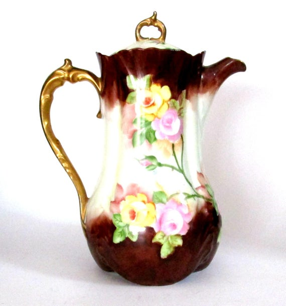 Porcelain Chocolate Pot, Coffee Tea Pitcher, Scalloped Edges, Gold Gilt Trim, Brown with Pink Yellow Florals