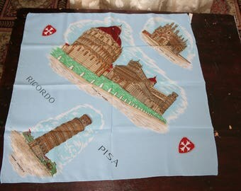 Pisa Italy souvenir scarf polyester made in Italy light blue brown red green leaning tower piazza del Duomo circa 1970s excellent condition
