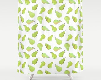 Pear Print Shower Curtain - bright green watercolor pears on a white background, fruit print shower curtain