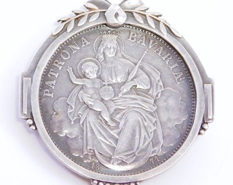 Beautiful Germany Victorian Bavarian Coin Brooch