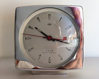 Vintage Wind-up Chrome and Glass Alarm Clock