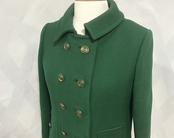 Vintage 1960s Kelly Green Double Breasted Pea Coat by Martha Phillips New York