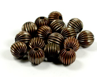 12  Pcs Copper Plated 12 mm Round Striped Beads , Brass