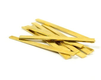 """10 Pcs. Raw Brass Blanks 3/16""""x2""""  -18 Gauge (1 mmThick )  Stamping Blanks (5x50 mm )"""