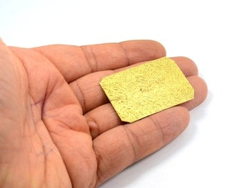 5 Pcs. Raw Brass 30x45 mm Rectangle Textured Sheet Blanks