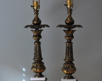 One (1) Pair (2 lamps) Vintage Cast Brass Lamps Tall Ornate