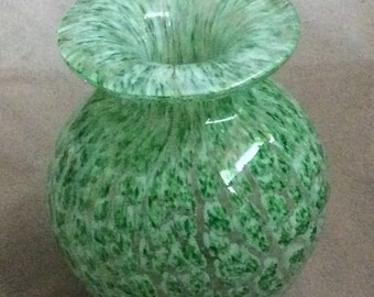 Art glass Vase mossy green decor